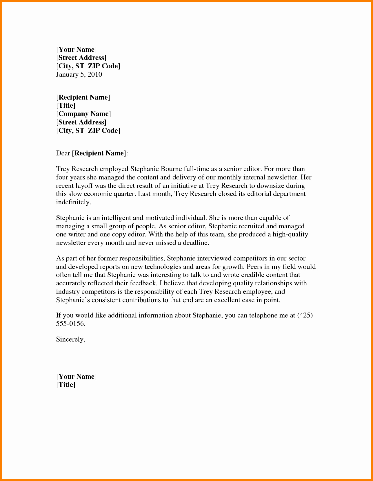 Letter Of Recommendations Template Elegant Letter Re Mendation Template Word