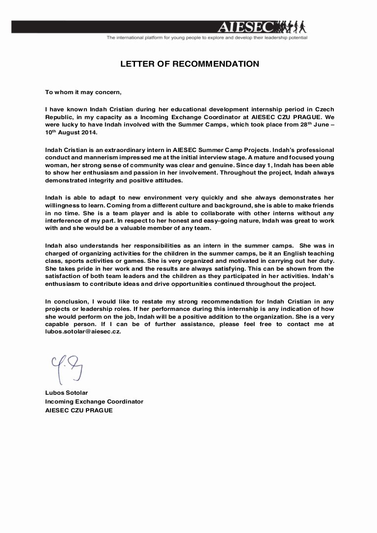 Letter Of Recommendations Template Unique Re Mendation Letter Aiesec