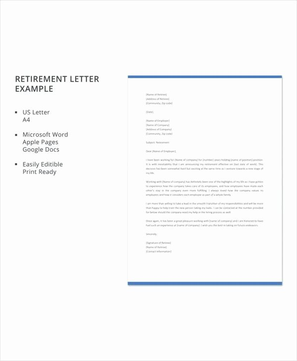 Letter Of Retirement Template Beautiful 20 Sample Useful Retirement Letters to Download
