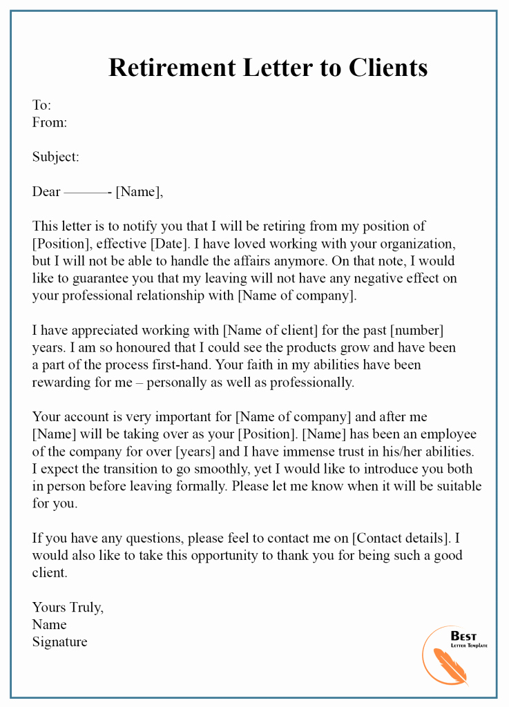 Letter Of Retirement Template Best Of 7 Free Retirement Letter Template – format Sample