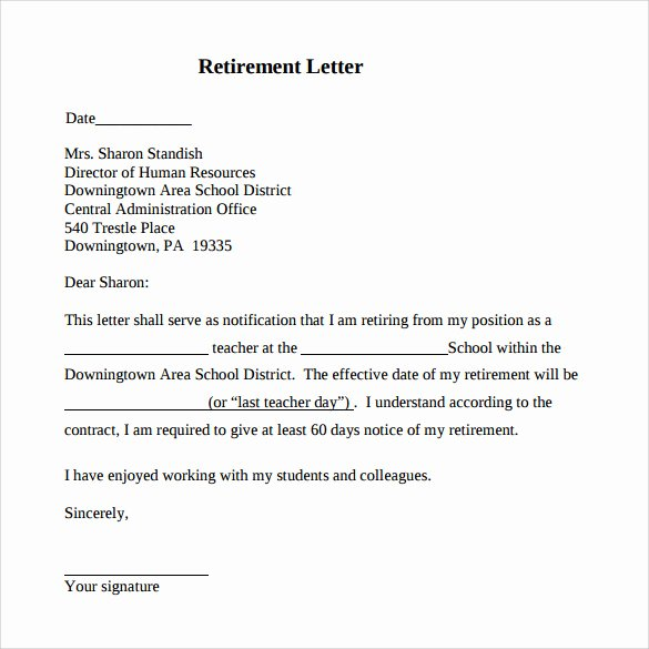 Letter Of Retirement Template Best Of Free 20 Sample Useful Retirement Letters In Microsoft