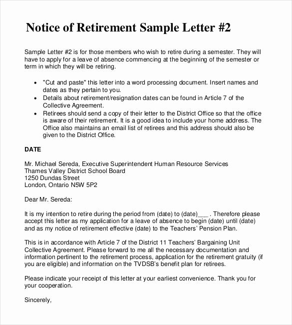 Letter Of Retirement Template Elegant 2 Retirement Letter to Employer Pdf