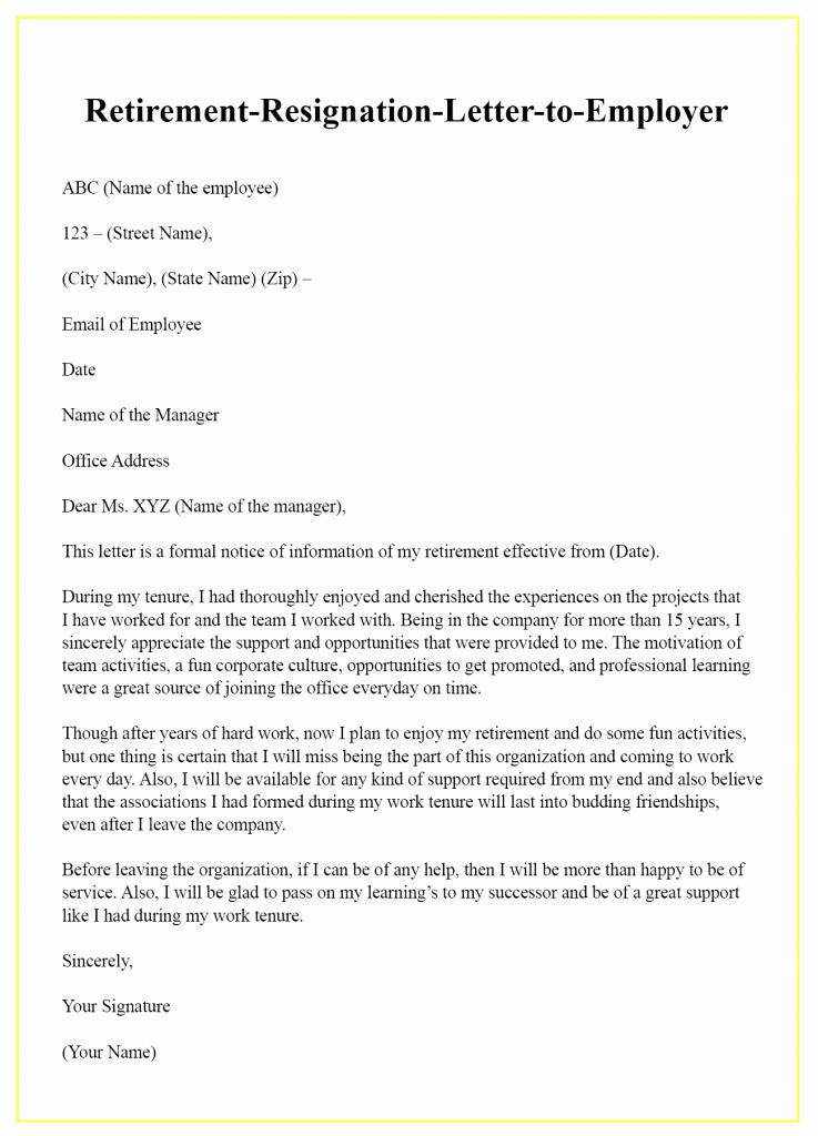 Letter Of Retirement Template Inspirational Retirement Resignation Letter to Employer – Sample & Example