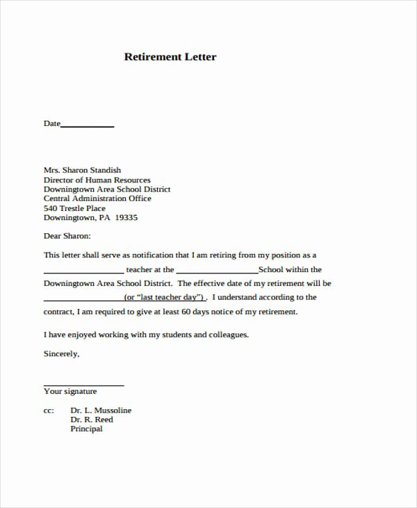 Letter Of Retirement Template New 12 Retirement Resignation Letter Template Free Word