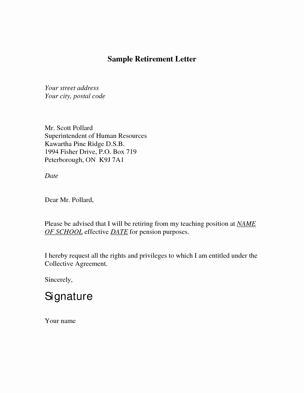 Letter Of Retirement Template New Retirement Letter to Employer Template Samples