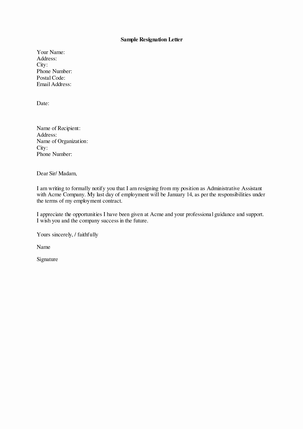 Letter Of Retirement Template Unique Retirement Letter to Employer Template Samples