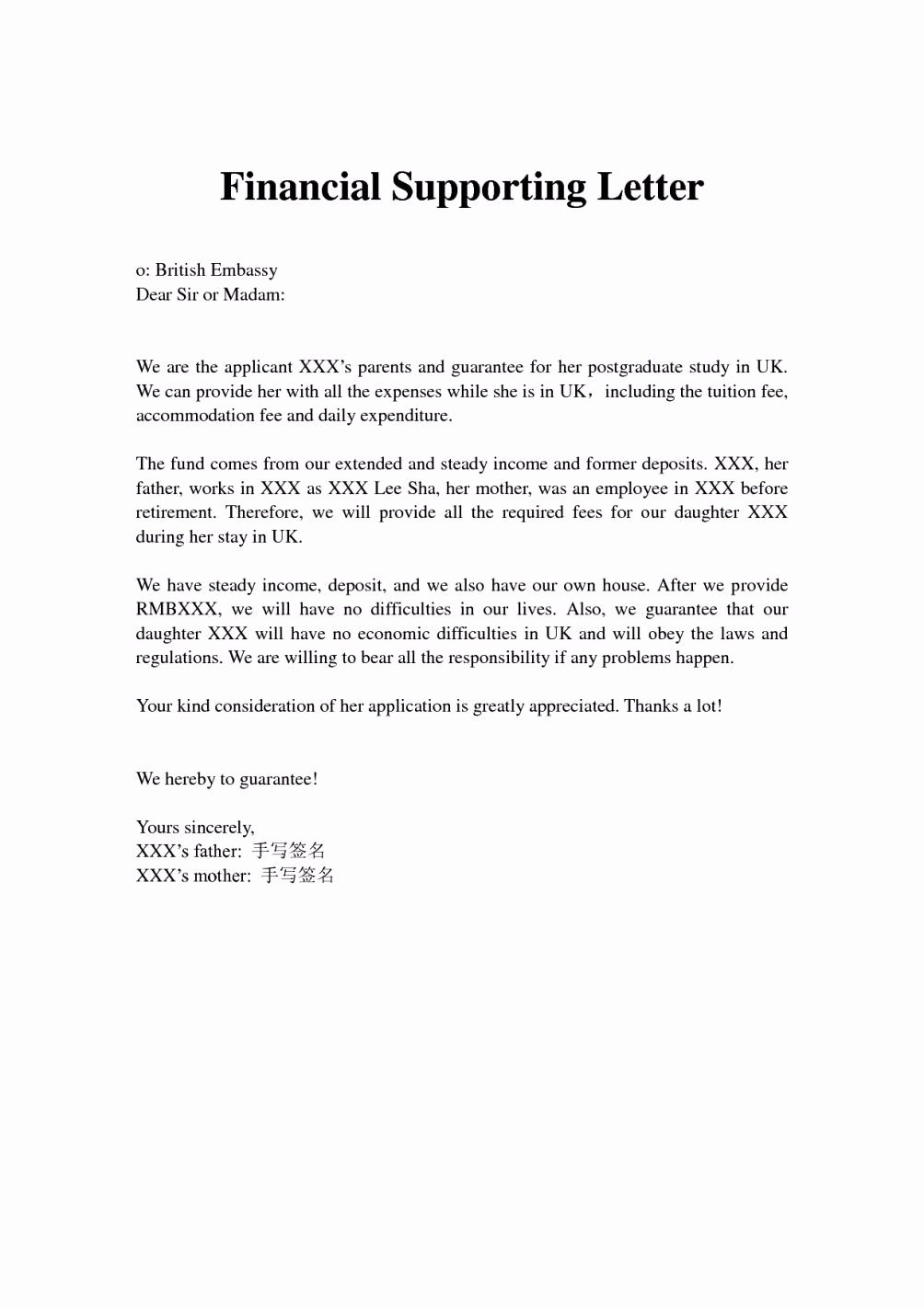 Letter Of Support Templates Best Of Financial Support Letter From Parents Letter