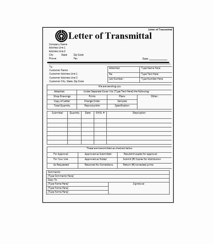 Letter Of Transmittal Template Construction Inspirational Letter Of Transmittal 40 Great Examples & Templates
