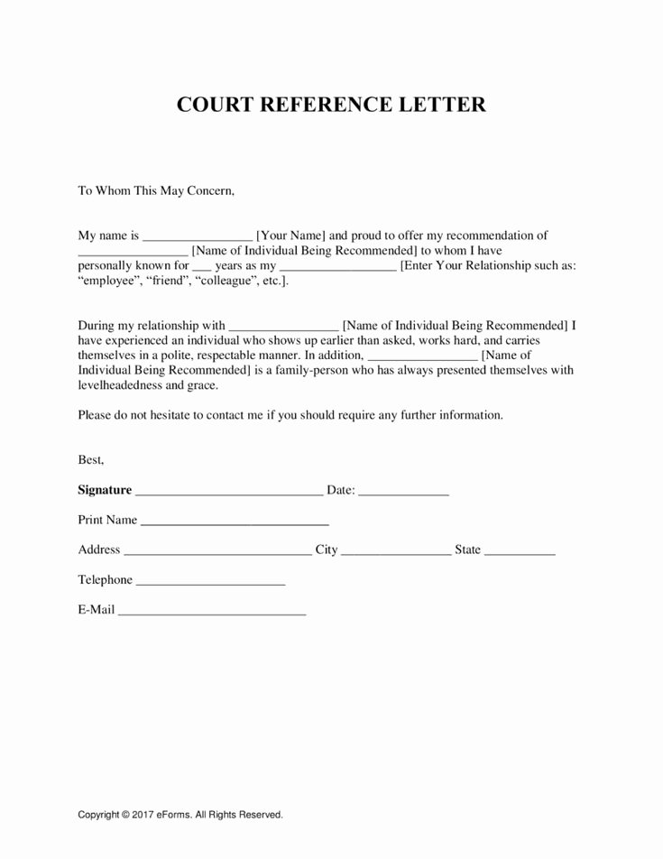 Letter to Court Template Beautiful Free Character Reference Letter for Court Template