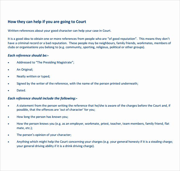 Letter to Court Template Elegant 9 Character Reference Letters for Court Samples Pdf Word