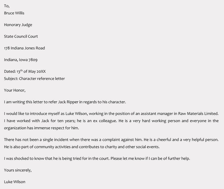 Letter to Court Template Fresh Character Reference Letter for Court Samples & Templates