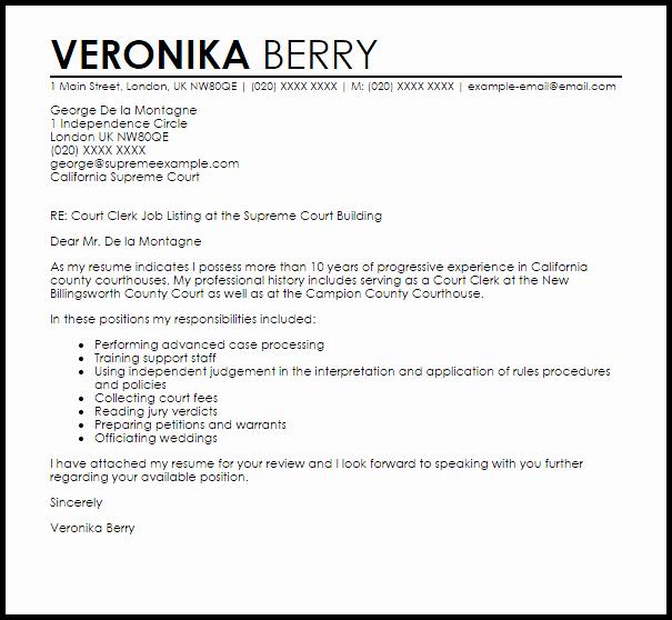 Letter to Court Template Fresh Court Clerk Cover Letter Sample