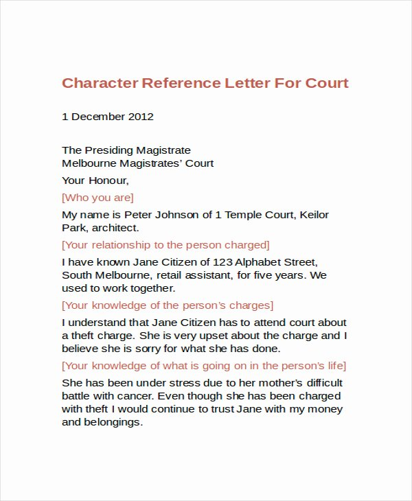 Letter to Court Template Inspirational 10 Best Personal Character Reference Letter How to