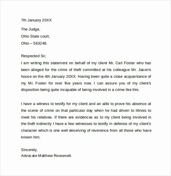 Letter to Court Template Inspirational 11 Character Letter Templates for Court Pdf Word
