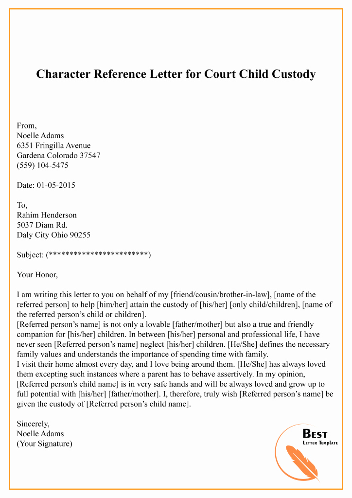Letter to Court Template Inspirational Character Reference Letter for Court Template – Sample