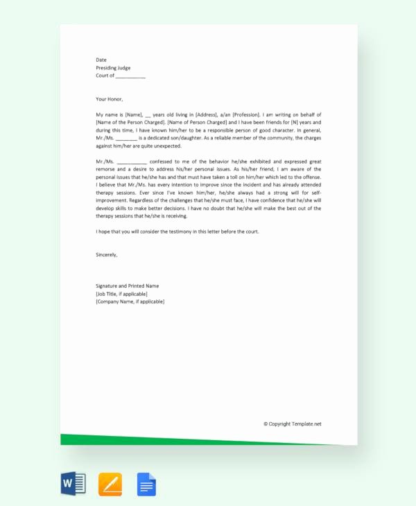Letter to Court Template Unique 11 Character Letter Templates for Court Pdf Word
