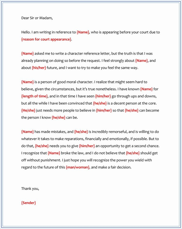 Letter to Court Template Unique Character Reference Letter for Court