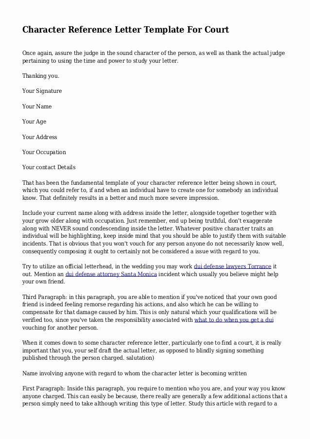 Letter to Court Template Unique Character Reference Letter Template for Court