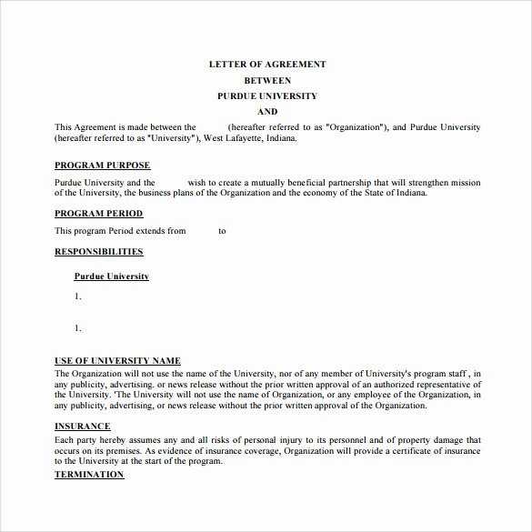 Letters Of Agreement Templates Awesome Free 16 Letter Of Agreement Templates In Pdf