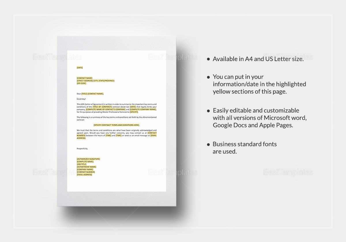 Letters Of Agreement Templates Beautiful Letter Of Agreement Master Professional Services Agreement