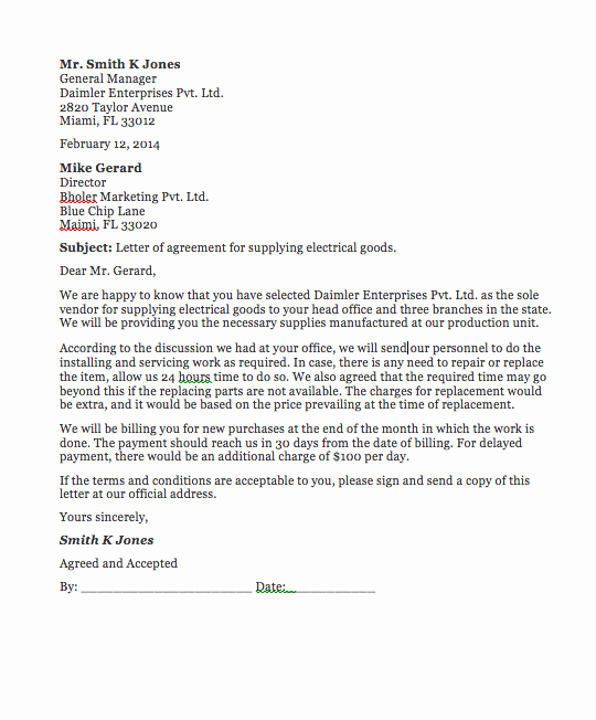 Letters Of Agreement Templates Best Of Agreement Letter Between Two Parties