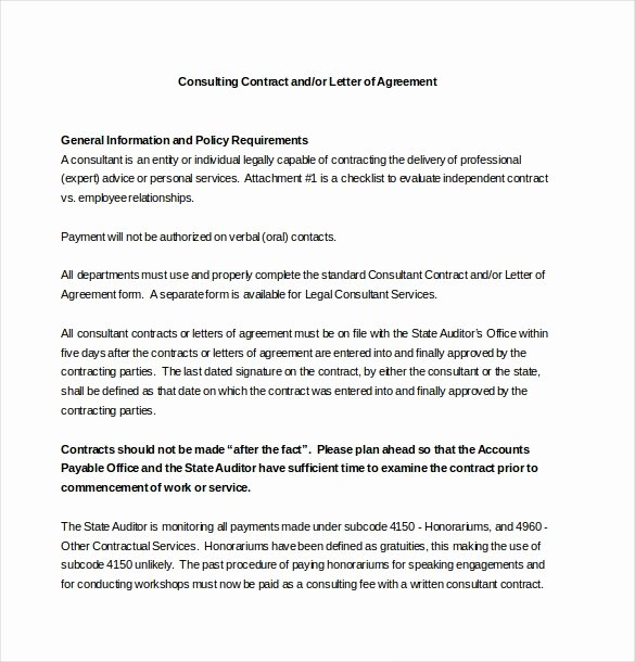 Letters Of Agreement Templates Elegant 24 Consultant Agreement Templates Word Docs