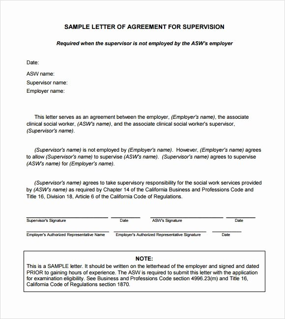 Letters Of Agreement Templates Elegant Sample Letter Of Agreement – 11 Example format