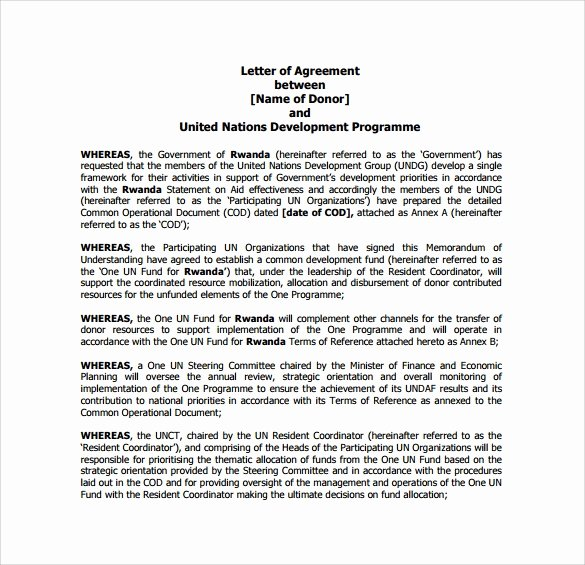 Letters Of Agreement Templates Fresh Free 16 Letter Of Agreement Templates In Pdf