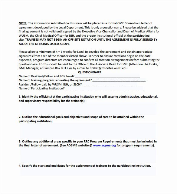 Letters Of Agreement Templates New Free 16 Letter Of Agreement Templates In Pdf