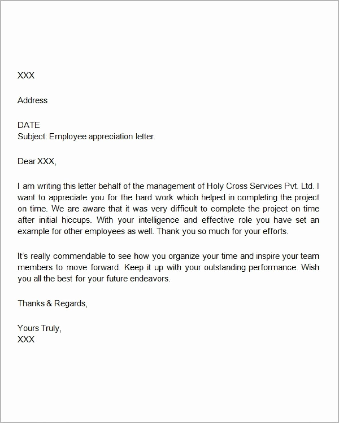 Letters Of Appreciation Template Best Of 9 10 Sample Appreciation Letters to Employees