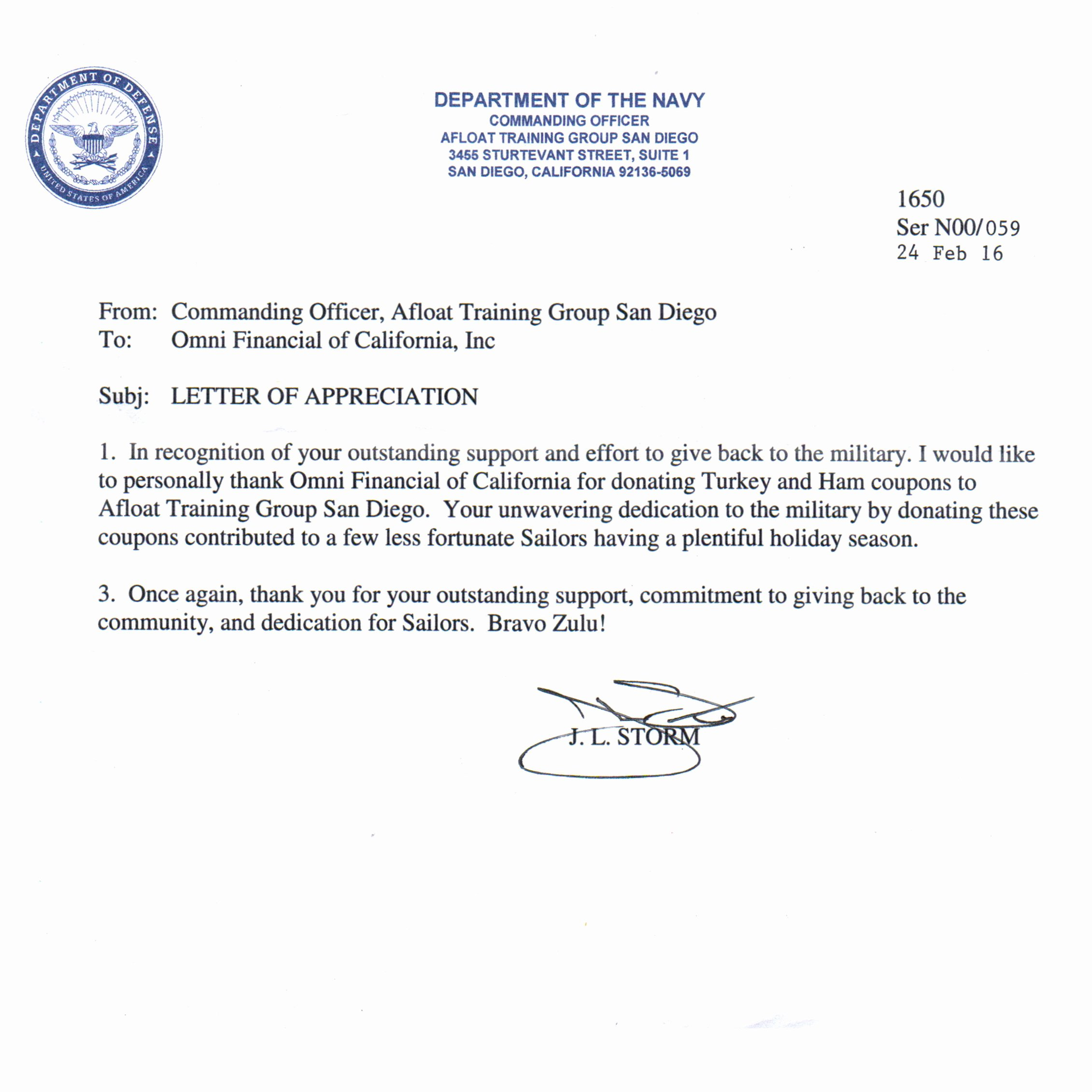 Letters Of Appreciation Templates Best Of Omni Military Loans In San Diego Ca