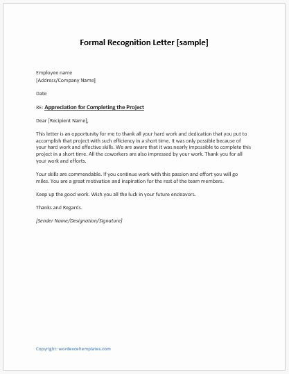 Letters Of Appreciation Templates Unique Employee Recognition Letters Writing Guide & Template