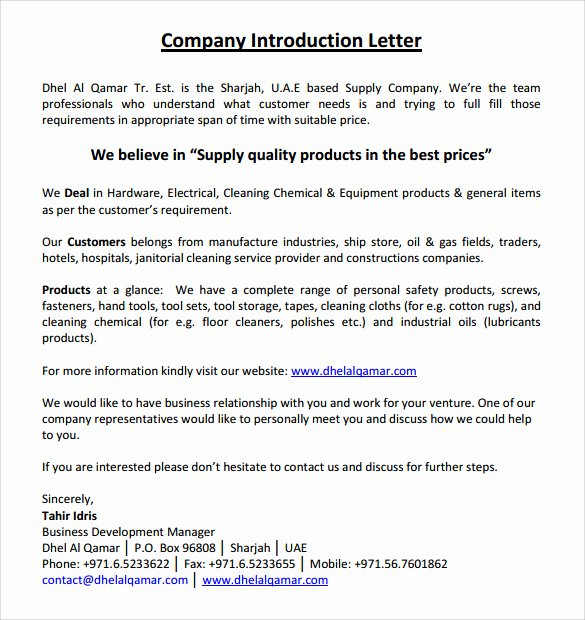 Letters Of Introduction Templates Inspirational Letter Of Introduction Sample 9 Examples In Word Pdf