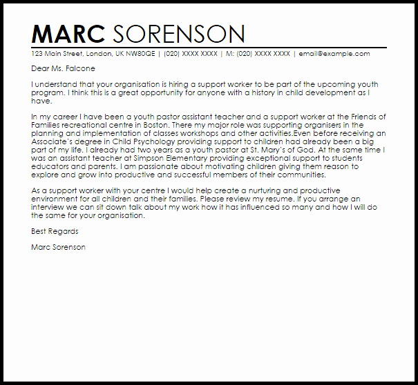 Letters Of Support Template Elegant Support Worker Cover Letter Sample