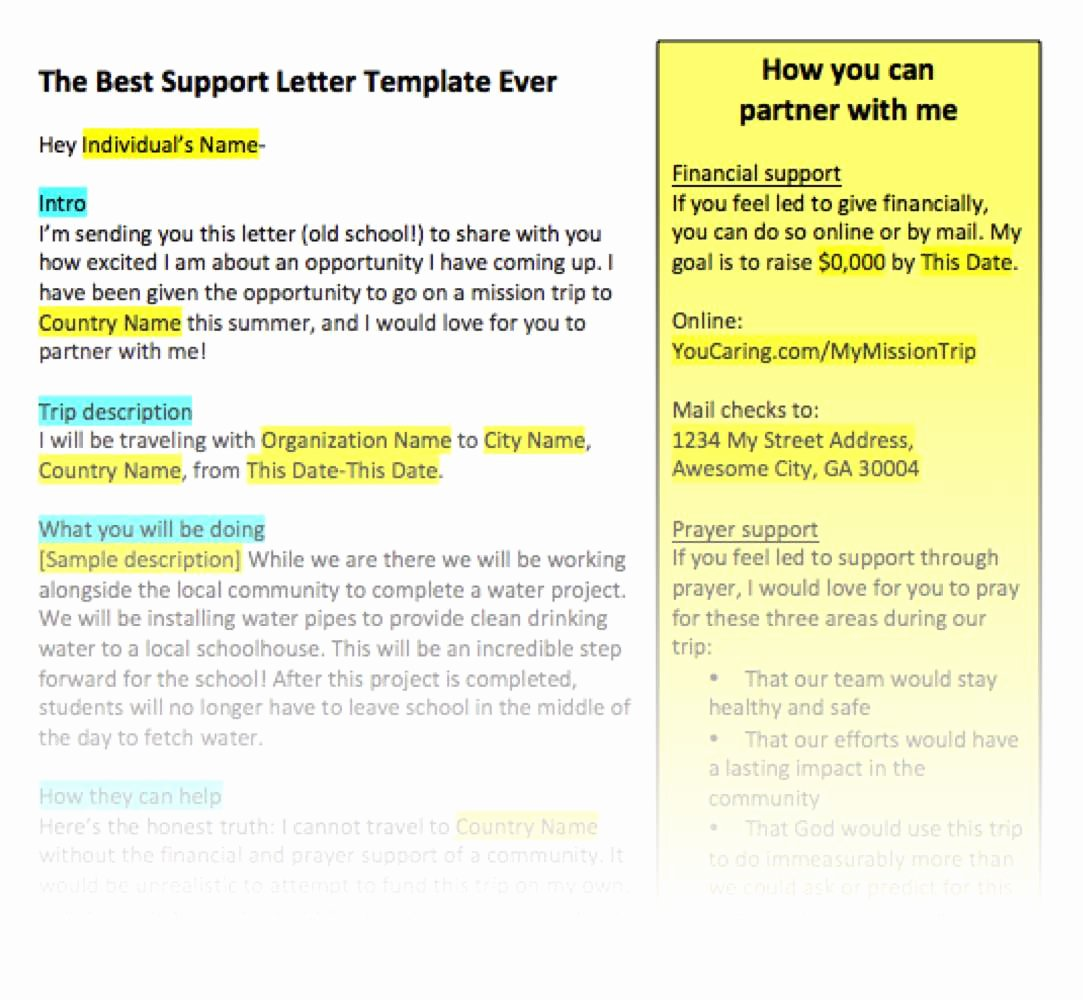 Letters Of Support Template New Fundraising