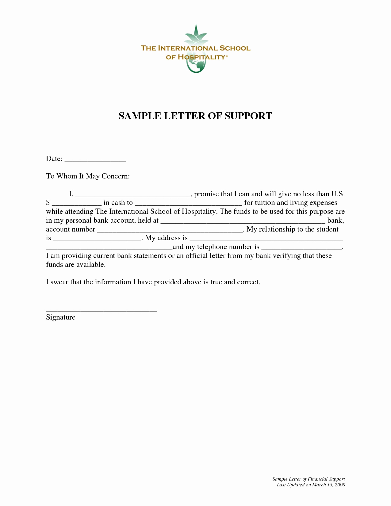 Letters Of Support Template New Letter Support Example for Grant