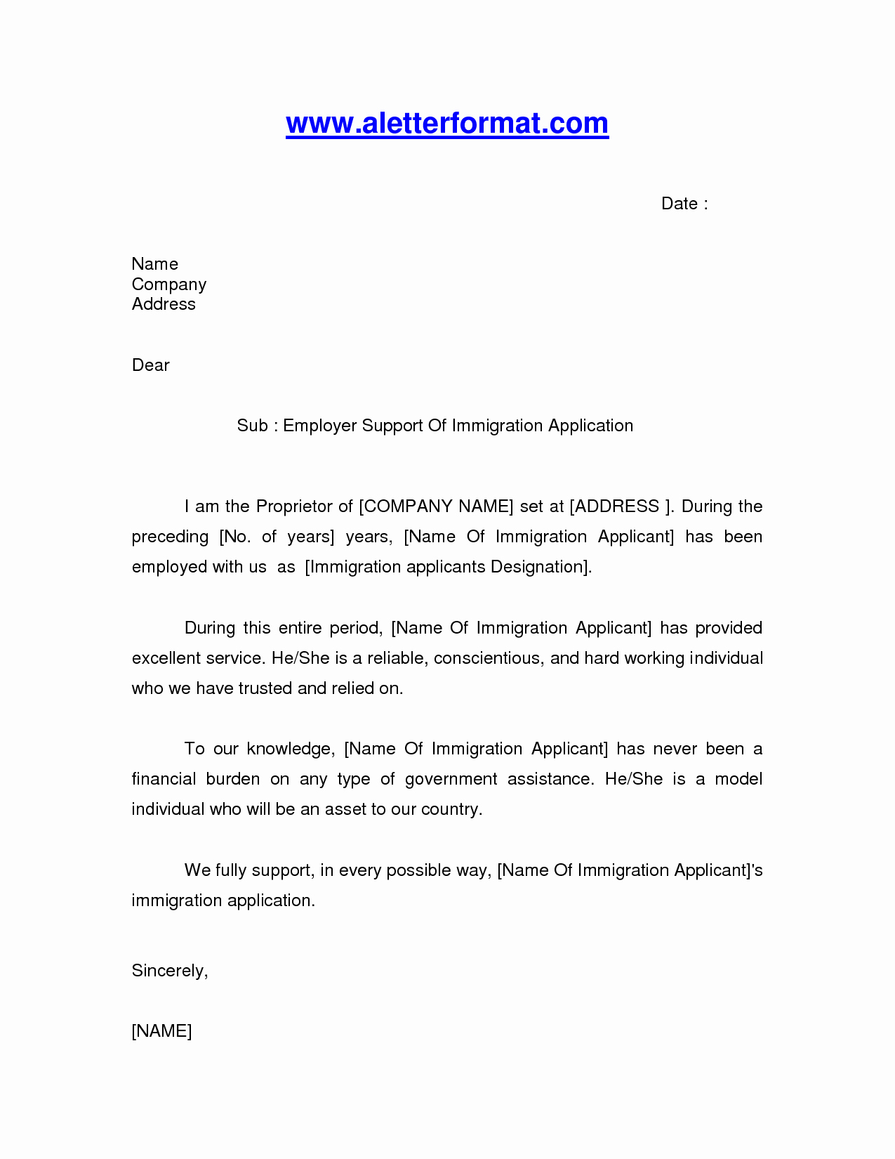 Letters Of Support Templates Elegant Immigration Letter Sample Google Search