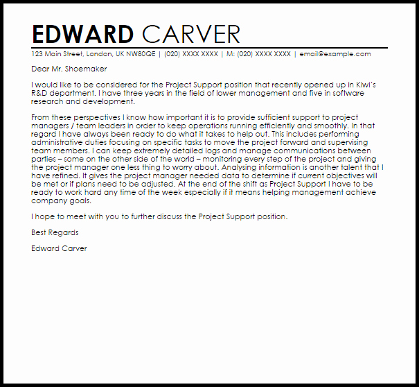 Letters Of Support Templates Elegant Project Support Cover Letter Sample