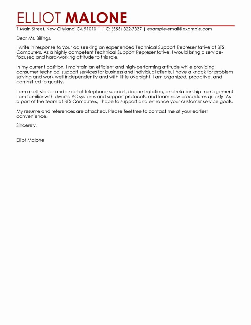 Letters Of Support Templates Inspirational Best Technical Support Cover Letter Examples