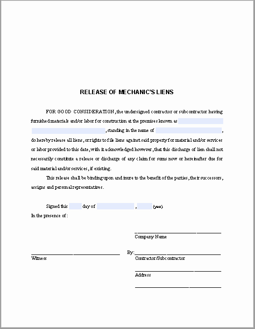 Lien Release Letter Template Inspirational Release Of Mechanic's Liens Certificate Template