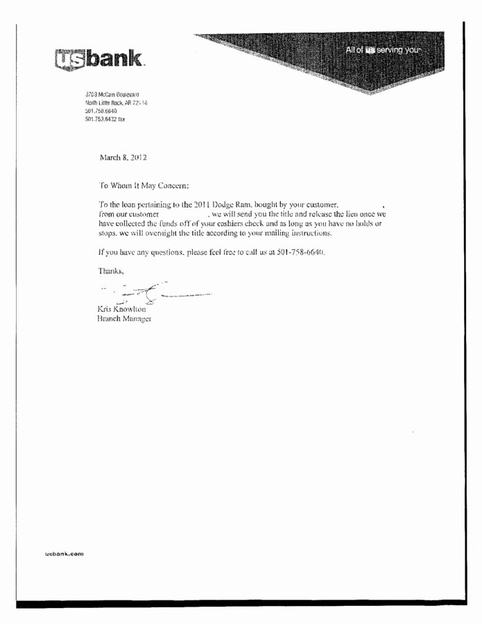 Lien Release Letter Template New Us Bank Arkansas Breach Of Contract Fraud Review