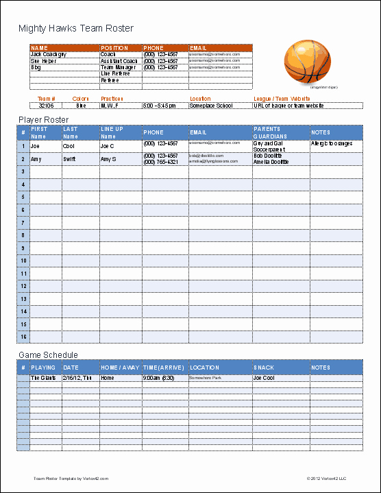Line Sheet Template Excel Fresh Create A Printable Basketball Roster with This Excel