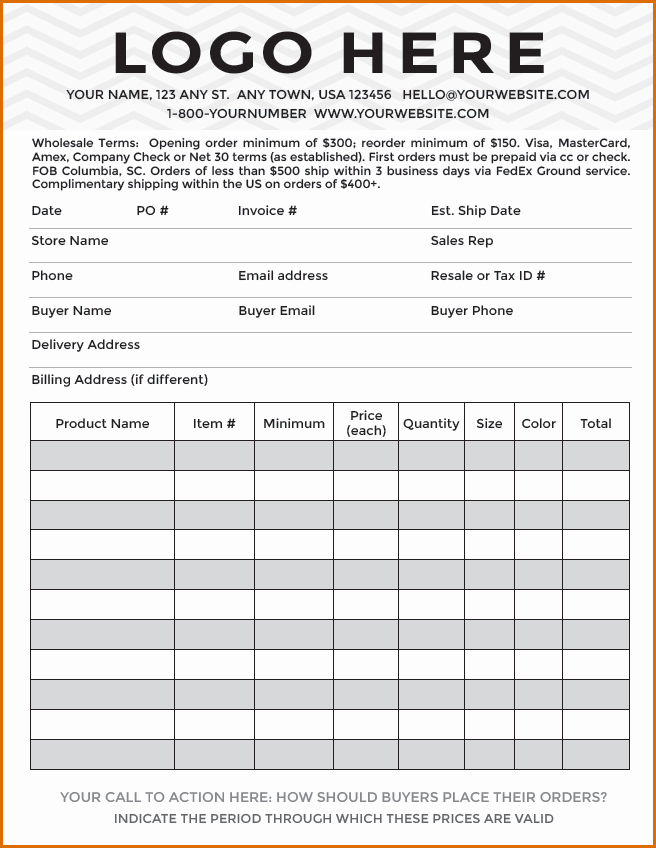 Line Sheet Template Excel New 8 order forms Template