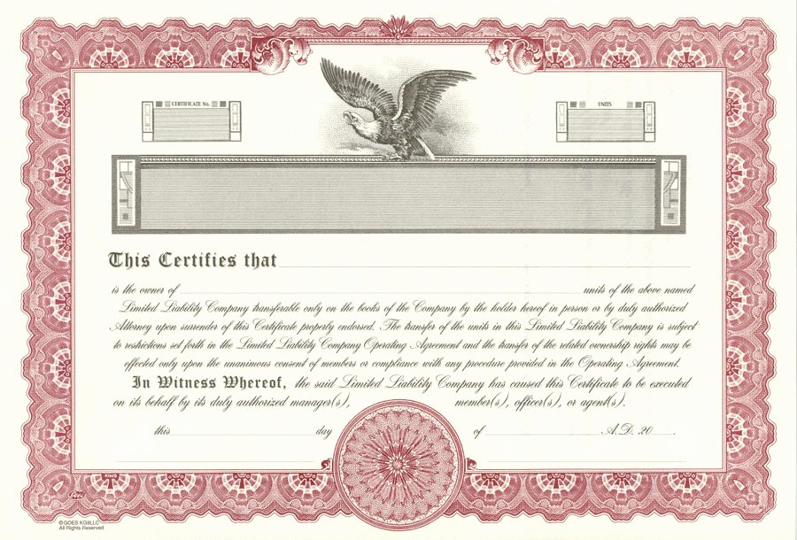 Llc Membership Certificate Template Elegant Lawyers Stationery Stock Certificates since 1911
