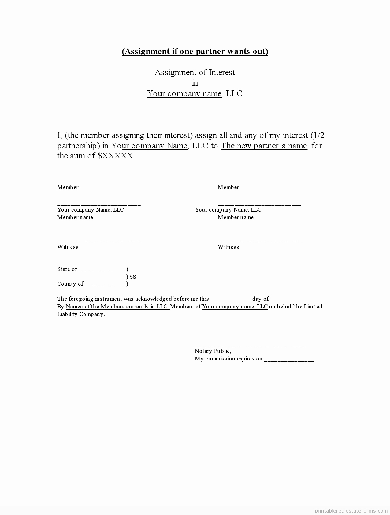 Llc Membership Certificate Template Elegant Sample Printable assignment Of Llc Interest form
