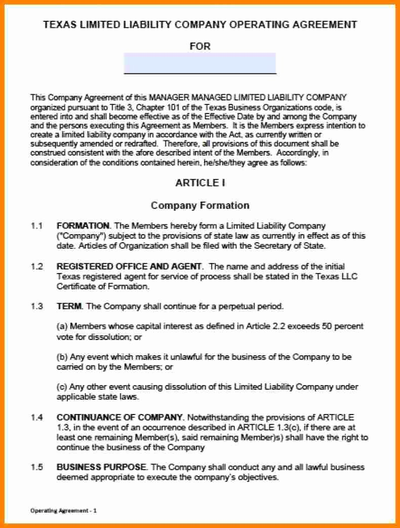 Llc Operating Agreement Template Pdf Beautiful 10 Single Member Llc Operating Agreement
