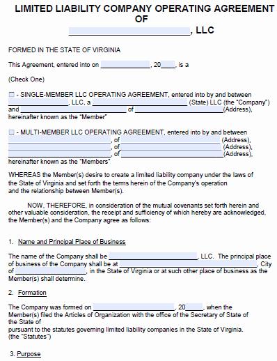 Llc Operating Agreement Template Pdf Beautiful Free Virginia Llc Operating Agreement Template Pdf