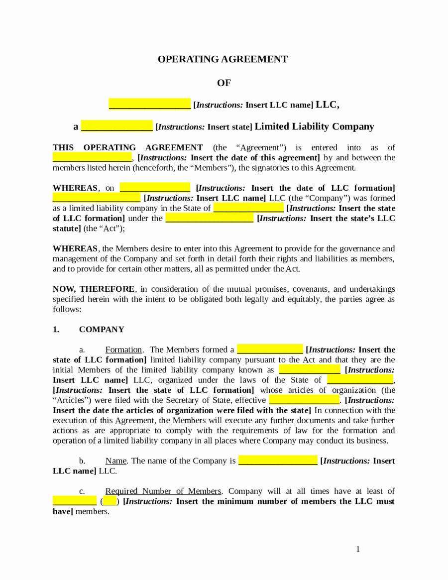 Llc Operating Agreement Template Pdf Fresh 2019 Llc Operating Agreement Template Fillable