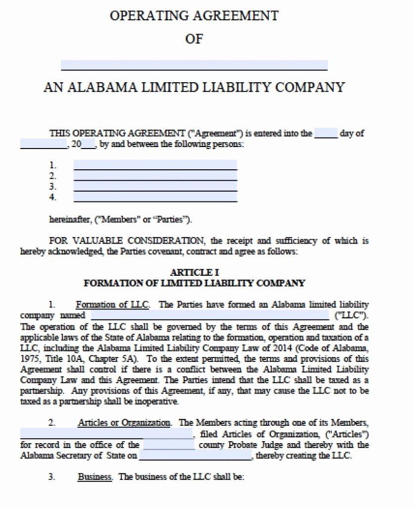 Llc Operating Agreement Template Pdf Luxury Free Alabama Llc Operating Agreement Template Pdf