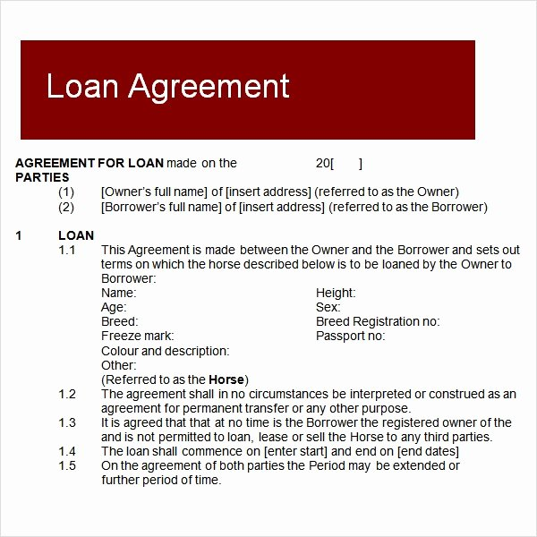 Loan Contract Template Word Awesome Free 12 Sample Standard Loan Agreement Templates In